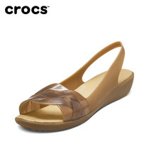 Crocs女鞋 卡駱馳伊莎貝拉魚嘴淺口休閑平底女涼鞋單鞋|204774(古銅/金色 38)