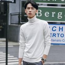 威路曼 2017秋冬季新款男式针织衫韩版高领毛衣男 学院风潮流男装毛衣(白色 XXXL)