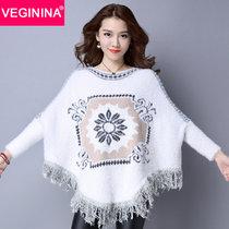 VEGININA 新款宽松流苏斗篷毛衣拼接针织衫长袖上衣 3363(白色 均码)