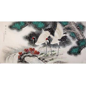 耿玉轩 鹤寿松龄2> 国画 花鸟画 工笔画 丹顶鹤 青松 溪流 横幅