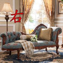 洛美蒂 简美式全实木布艺贵妃椅单人沙发椅 欧式卧室美人榻 贵妃椅(右)