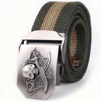 亲密百合骷髅头帆布腰带(绿色条纹)