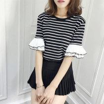 Mistletoe夏新款韩版百搭条纹半袖上衣韩范宽松显瘦短袖t恤女装(黑色 XXL)