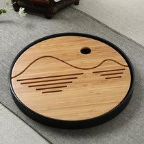 瑾瑜御瓷 日式竹制圆形托盘旅行盛水茶台圆形功夫茶盘茶海小托盘(款式二)