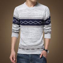 男装秋装男士针织衫潮韩版外套男士粗线圆领拼接套头毛衣男S1615(浅灰色 L)