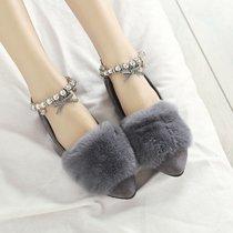 2017时尚兔毛中扣尖头水钻一字带平底平跟女士单鞋低女鞋黑灰色S6(37)(黑色)