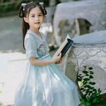 女童夏裝中國風襦裙小女孩超仙雪紡復古唐裝兒童夏季連衣裙子八件裝(xs 白)