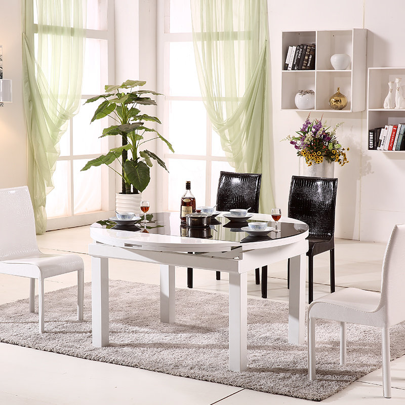顾家邻居伸缩折叠圆餐桌 钢化玻璃餐椅套装 大理石圆.