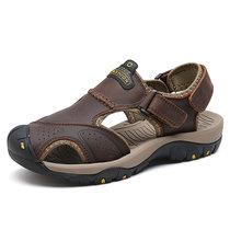 柒巢户外凉鞋男包头沙滩鞋男子溯溪鞋涉水鞋罗马鞋头层牛皮凉鞋(7238-1浅棕 39)