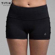 TITIKA女顯瘦中腰束腿彈力緊身運動褲跑步速干健身瑜伽短褲23328(黑色 S)