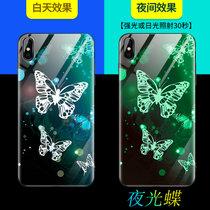 iPhoneX手机壳夜光玻璃苹果x钢化玻璃壳全包硅胶防摔保护壳/套男女款手机保护套(夜光蝶-送钢化膜)