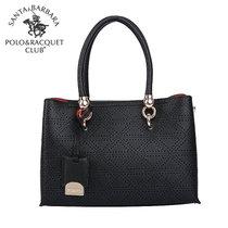 圣大保罗polo 女包 单肩斜跨手提包 时尚名媛大包包(黑色)