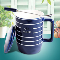 韩式陶瓷情侣水杯牛奶咖啡杯带盖带勺马克杯套装(蓝色 其他)