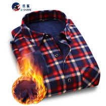 优鲨 保暖衬衫男保暖衬衣男加绒加厚格子衬衫男士2017冬季新款条纹衬衫(TSMR609)