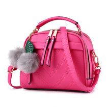 新款潮流女包手提包简约时尚单肩包斜挎包小包(玫红色)