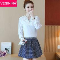 VEGININA 韓版時尚套裙蕾絲長袖A字裙短裙兩件套女 3279(圖片色 XL)