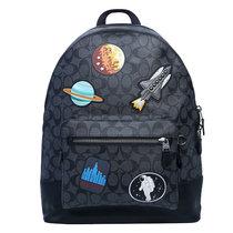 COACH/蔻馳 男包 新款男士徽章時尚休閑雙肩包 電腦包 旅行包 電腦包 F29040  黑色(黑色)