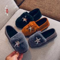 冬季女童毛毛鞋外穿可爱2018新款公主豆豆鞋儿童二棉鞋小女孩棉鞋(37 黑)