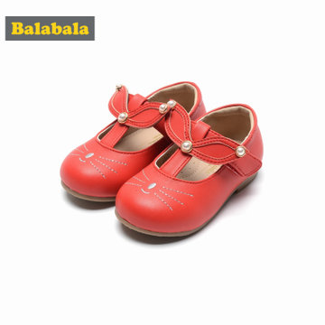 巴拉巴拉童鞋女童公主鞋2018春季新款透气皮鞋儿童小童宝宝鞋子女(24