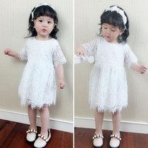 童装春夏女童镂空蕾丝连衣裙小女孩宝宝白色礼服裙短袖公主仙生日(110cm/码标48M)(白色)