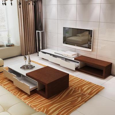 茶几电视柜客厅组合套装 简约现代地柜创意原木烤漆伸缩茶几电视柜 61