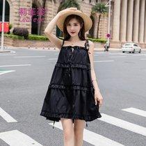 莉菲姿甜美森系蛋糕蓬蓬吊带连衣裙子夏(黑色)