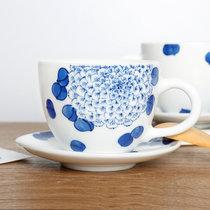 景德镇觀宋手绘荷花满工青花咖啡杯碟套组 青花陶瓷水杯