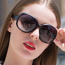 太阳镜圆脸女士墨镜女潮明星款防紫外线眼镜大脸优雅(黑色)