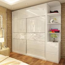 伊美芳妮(Emayfongn)烤漆推拉門衣柜移門趟門衣柜臥室板式組合簡約現代大衣櫥柜(單衣柜 1.2米主柜)