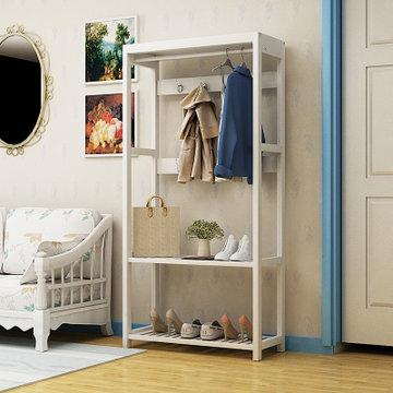 明佳友 多功能实木衣帽架落地欧式挂衣架立式创意卧室置物架 白色 宽