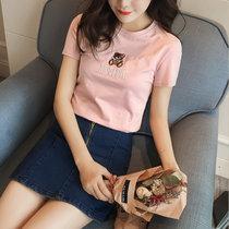 女装夏装2019新款潮上衣女短袖t恤韩版小熊圆领修身体恤衫(黑色 M)