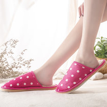 2018新款棉拖鞋女冬季室内地板情侣居家拖鞋男毛毛绒防滑棉拖鞋(圆点玫红色 37-38适合35-36的脚)
