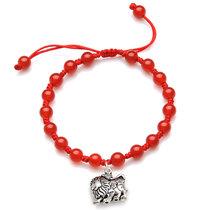 蓝狐世家 925银12星座红玛瑙转运珠手链 本命年情侣红绳子手链(狮子座)