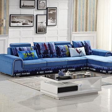 时尚简约小户型可拆洗 客厅组合转角沙发(三位 单位 贵妃)(蓝色 三位