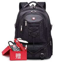 SVVTSSCFAP军刀双肩电脑包大容量登山包书包男女户外旅行包运动背包(黑色)