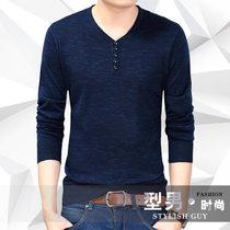 瑰蝴蝶秋季新款男式针织衫 男装宽松版长袖羊毛衫新款(蓝色 185)