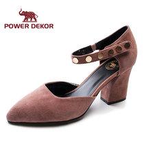POWER DEKOR圣象女鞋春夏季新款羊皮真皮尖头高跟单鞋2722G90305(豆沙 39)