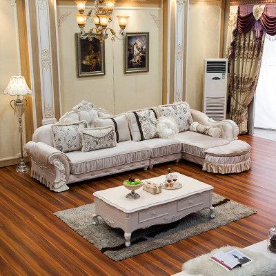 欧式沙发 布艺沙发 简欧实木布沙发 小户型 组合拐角贵妃沙发送货