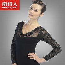 南極人保暖內衣春秋女士親膚美體顯瘦性感鏤空刺繡打底衫蕾絲上衣(0173黑色上衣)