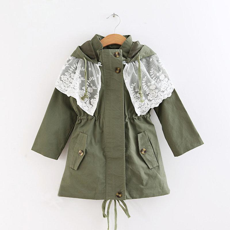 童装女童秋装2014新款女童风衣外套韩版蕾丝中大儿童中长款外套(军