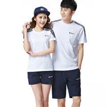 艾酷狼 夏季运动套装夏情侣装 短袖套装 运动服女男夏休闲服(白色 男XL)