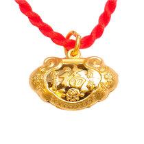梦克拉 黄金吊坠项链 福气宝宝锁 长命富贵锁 宝宝饰品