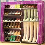 乐活时光 靴子款无纺布 简易组装鞋柜客厅门厅鞋子收纳柜加厚无纺布储物柜鞋柜加固防尘鞋架子(紫太阳)