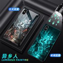 蘋果x手機殼套 iphoneXS保護殼套 蘋果iphonex/xs夜光鋼化玻璃鏡面硅膠軟邊全包防摔外殼(圖11)