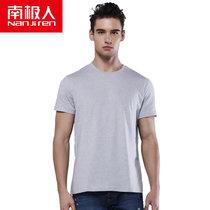 南极人男士夏短袖T恤文化衫棉质吸汗修身多彩打底背心(灰色)