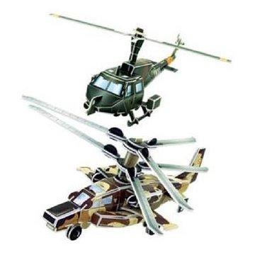 乐立方立体拼图diy玩具儿童直升飞机纸模型