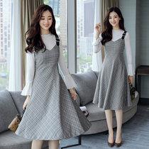 莉菲姿 秋冬新款韩版时尚套装中长款两件套高腰连衣裙女(图片色 XL)