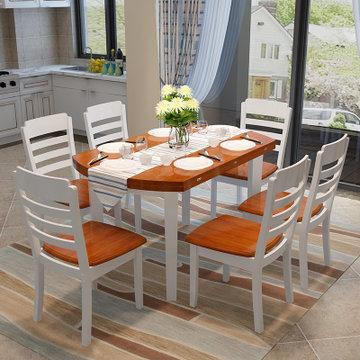 明佳友 餐桌 实木餐桌椅组合 折叠伸缩圆桌 餐桌餐椅套装 饭桌m608(地