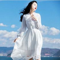 素芬 度假文艺仙女裙2018春夏修身雪纺拼蕾丝连衣裙女波西米亚显瘦中长裙秋装(白色 S)