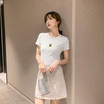 夏装2019新款短袖t恤女韩版百搭修身印花白色半袖打底衫圆领上衣(白色 L)